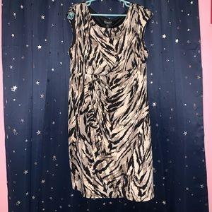 Size 20W Tiger Print Faux Wrap Dress
